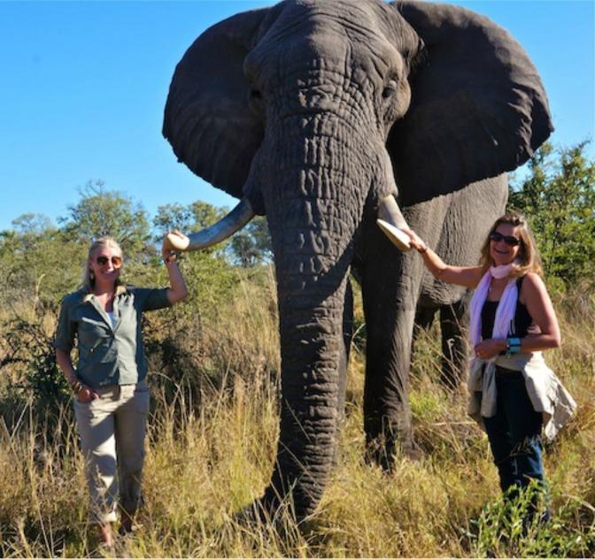 MIchaela Guzy & I hanging with the elephants